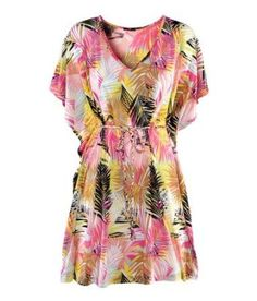 Tamari Multi Coloured Strapless Abstract Summer Dress Beach Cover Up For Women One Size (UK 8, 10, 12)