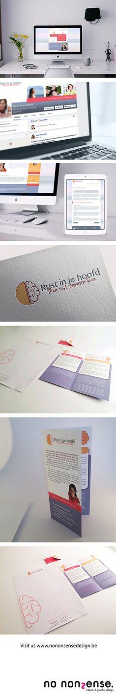 Complete huisstijl met logo, visitekaartje, briefpapier, website, nieuwsbrief, folder, social media header. #branding #corporateidentity #graphicdesign
