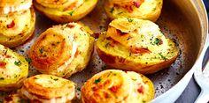 Pommes de terre farcies au chèvre et jambon