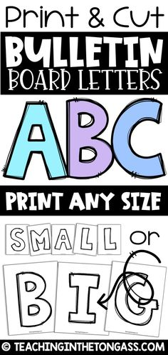 A set of capital AND lowercase alphabet letters for easy bulletin boards. Print the ink-saving, black and white letter pages on colored paper and cut out. Black Bulletin Boards, Bulletin Board Letters, Back To School Bulletin Boards, Classroom Bulletin Boards, Classroom Themes, School Classroom, Colorful Bulletin Boards, Travel Bulletin Boards, Career Bulletin Boards