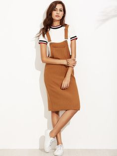 Shop Khaki Ribbed Overall Dress With Pockets online. SheIn offers Khaki Ribbed O… Shop Khaki Ribbed Overall Dress With Pockets online. SheIn offers Khaki Ribbed Overall Dress With Pockets & more to fit your fashionable needs. Cute Dresses, Casual Dresses, Casual Outfits, Cute Outfits, Dresses Dresses, Summer Dresses, Dungaree Dress, Dress Outfits, Fashion Outfits