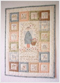 quilted wall hanging - with embroidered squares Quilt Baby, Colchas Quilt, Patch Quilt, Quilt Blocks, Embroidered Quilts, Applique Quilts, Small Quilts, Mini Quilts, Quilting Projects