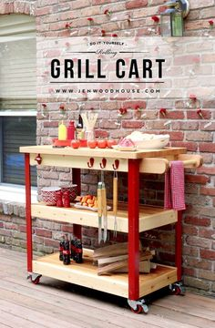 Plans Woodworking How To Build A Rolling Grill Cart - full tutorial and free plans! - Learn how to build a DIY Rolling Grill Cart with these free plans and in-depth tutorial by Jen Woodhouse. Diy Wood Projects, Outdoor Projects, Home Projects, Furniture Plans, Diy Furniture, Furniture Stores, Repainting Furniture, Furniture Market, Furniture Movers
