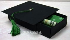 A matchbox graduation hat as gift wrap for money (tied like a diploma)