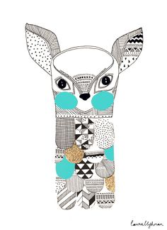Image of Feathered Fawn > laura blythman Illustration Sketches, Graphic Design Illustration, Inspirational Artwork, Illustrators, Creations, Line Art, Artsy, Art Prints, Drawings