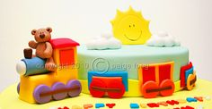 Teddy bear train cake