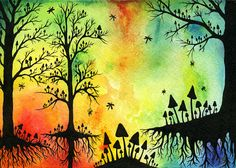 Trees and Mushrooms Watercolor & Ink Print 7 by littlemissmushroom, $9.00
