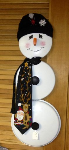 Snowman my mom made out of pot lids