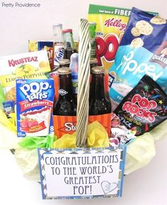 """GRAD GIFT  """"PARTY LIKE A POP STAR!!!  Today is your day.  Congratulations Graduate!""""  Popsicles, Pop Tarts, Popcorn, Tootsie Roll Pops, Charms Blow Pops, Pop Rocks, Ring Pops, Soda Pop, Pops Cereal, Poppy Cock, Lemon Poppyseed Bread..."""