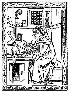 Medieval Woodcuts Clipart Collection 24. St. Augustine in his study, from his Soliloquii, Florence 1491. oktouse