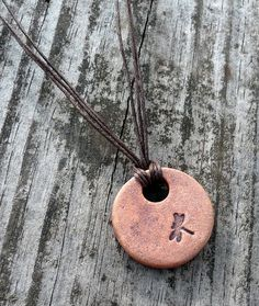 Iron Oxide Collection Clay Pendant with Dragonfly