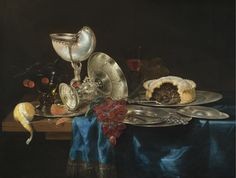 Gerrit Willemsz. Heda (c.1620-1702) and Pieter de Ring(1615 - 1660) —  Still Life with a Nautilus Cup, a Meat Pie, a Bunch of Grapes, Some Pewter Plates and a Partly-Peeled Lemon, All Arranged on a Partly-Draped Table,  1646   (200x1509)