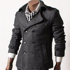GL Fashions Men's Double Breasted Blazer Herringbone Coat/Jacket
