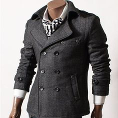 GL Fashions Men's Double Breasted Blazer Herringbone Coat/Jacket