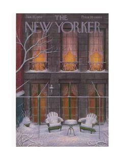 Premium Giclee Print: The New Yorker Cover - January 1956 by Edna Eicke : The New Yorker, New Yorker Covers, Illustrations, Illustration Art, Magazine Illustration, Vintage Posters, Vintage Art, Vintage Photos, Painting Snow