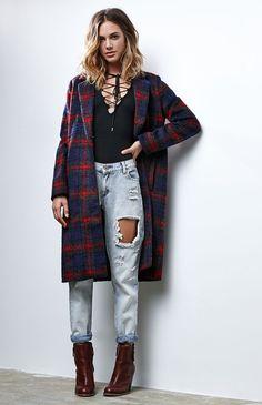 Notched Collar Plaid Coat