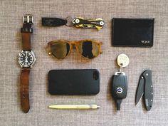 Omega••Seamaster Professional Planet Ocean + Keys on KeySmart••2.0 w/Nite-Ize••KeyCLIPse + Tumi Ticon••Flat Card Wallet + Warby Parker••GriffinSunglasses + iPhone 5S w/Spigen••NeoHybrid Case + Volvo••C30 Key + Kershaw••Leek + Caran D'ache••Ballpoint Pen