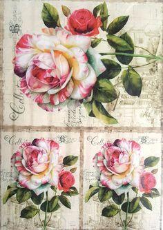 Hoja De Papel De Arroz Para Decoupage Scrapbooking Artesanía Vintage Jardín Flores 1//1