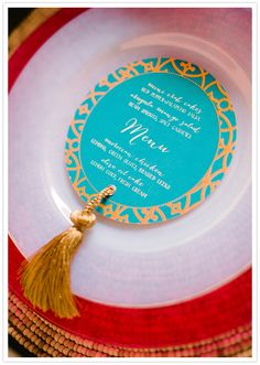 Coaster style table menus and gold tassels by Make Merry!