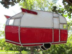 Red Vintage Shasta Trailer  Stained glass by TheHuckleberryBucket, $25.00
