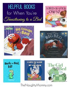"Reading books is a great way to help kids adjust to a transition like going from a crib to a bed. Here's a few books I found to help ease the move into a ""big kid bed"" for your child."