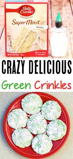 {Grinch Cookies} - Never Ending Journeys Green Crinkle Cookie Recipe! {Grinch Cookies} - Never Ending Journeys Green Crinkle Cookie Recipe! {Grinch Cookies} - Never Ending Journeys G St Patrick's Day Cookies, Grinch Cookies, Christmas Cookies, Köstliche Desserts, Delicious Desserts, Dessert Recipes, Irish Desserts, Bar Recipes, Dessert Party