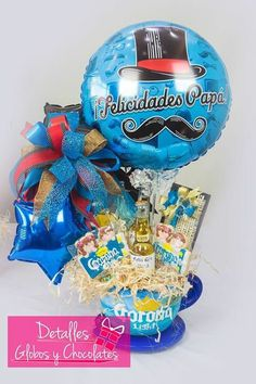 Fathers Day Baskets, Gift Baskets For Him, Fathers Day Gifts, Balloon Box, Balloon Bouquet, Gift Bouquet, Candy Bouquet, Balloon Arrangements, Balloon Decorations