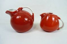 shopgoodwill.com: Hall Kitchenware Red Teapot and Ball Pitcher
