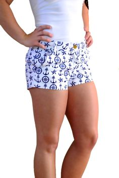 Off Shore Shorts Nautical Shorts, Nautical Outfits, Boho Shorts, Casual Shorts, Nautical Clothing, Cute Beach Outfits, Beach Stuff, Girls Boutique, Geek Chic
