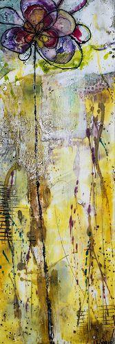 Encaustic - Long Tall Posy 2 - by Linda Virio