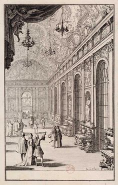 The Hall of Mirrors at Versailles with the solid silver furniture and objects made for Louis XIV. An engraving of 1684 by Sébastian Leclerc (French, 1637–1714).