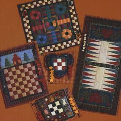 Quilted board games - make playing space out of felt and use the claw portion of Velcro on the playing pieces. GREAT for road trips! Quilting Ideas, Quilting Projects, Quilt Patterns, Sewing Projects, Craft Projects, Game Boards, Board Games, Felt Games, Fabric Board