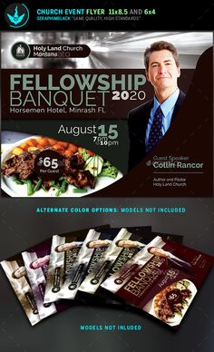Fellowship Banquet Flyer Template This church flyer is designed with a clean modern style and colors that are soft and elegant.  It can be used for multiple types of events and is easy to use and well organized. If you want the best presentation for your event, then you've come to the right place. Download today, the investment will be well worth it!