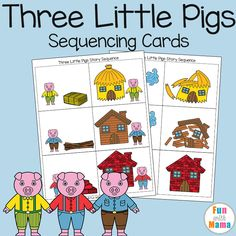 Add these free printable sequencing cards to your three little pigs craft activities for preschool and kindergarten kids. Children will love retelling this fairytale story via /funwithmama/ 3 Little Pigs Activities, Retelling Activities, Fairy Tale Activities, Book Activities, Activity Ideas, Nursery Rhymes Preschool, Preschool Literacy, Preschool Themes, Preschool Printables