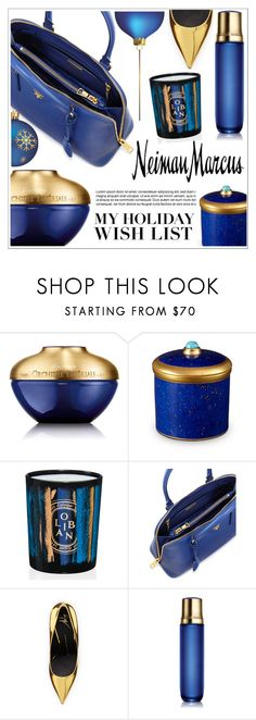 """""""The Holiday Wish List With Neiman Marcus: Contest Entry"""" by ewa-naukowicz-wojcik ❤ liked on Polyvore featuring Guerlain, L'Objet, Diptyque, Prada, Neiman Marcus, Giuseppe Zanotti and NMgifts"""