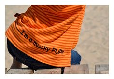 ...........I'm a mucky pup!! motif on the back of the stripe Zuma the Dog t-shirt from the summer 2013 range