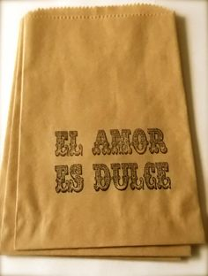 "50 brown retro ""El Amor Es Dulce"" - Love is Sweet - Spanish Wedding -candy buffet bags - wedding cake bags,candy station bags, favor bags"