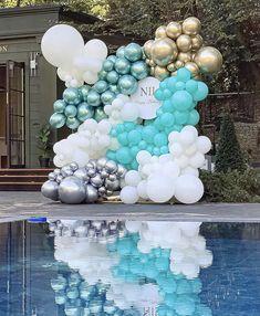 Balloon Backdrop, Balloon Wall, Balloon Garland, Balloon Decorations, Picture Backdrops, Gold Balloons, Posh Party, Ideas Para Fiestas, Birthday Balloons