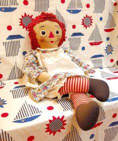 Vintage Raggedy Ann Doll 30 Inches Tall 1960s by CoconutRoad - love this doll against this fabric!