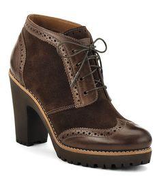 {Brown Suede Emory Oxford Lug Heel Bootie by Sperry Top-Sider}