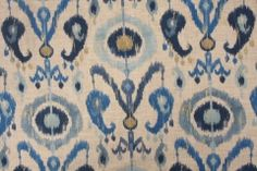 Richloom Holiday Printed Linen Drapery Fabric in Lake $20.95 per yard