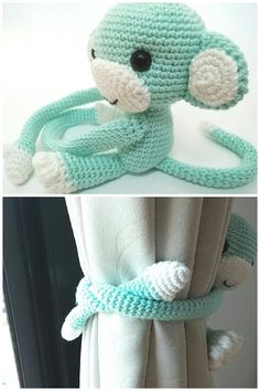 Cotton yarn monkey curtain tie back♥ Oh so cute for your home! The price 29.50 USD is for one monkey only. **If you prefer 2 or more monkeys, please select color and curtains side then add to cart one by one. You also can convo me to make you a custom listing.   The mint green monkey in the first photo is a sample of one for curtains right side.  Made-to-order item.  Size approx : Height 11.5 cms (4 1/2 inches) Arms length 19 cms (7 1/2 inches)  Material : cotton yarn, plastic eyes,...