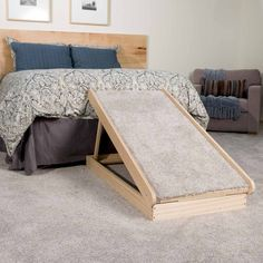 We all love our furry friends to be at our side, but sometimes they can't get there. Build this amazing dog ramp in an afternoon with some basic tools. Dog Ramp For Bed, Pet Ramp, Woodworking Projects That Sell, Woodworking Plans, Woodworking Furniture, Youtube Woodworking, Woodworking Machinery, Woodworking Magazine, Woodworking Supplies