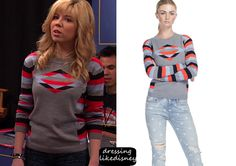 """Sam Puckett (Jennette McCurdy) wears this Marc by Marc Jacobs Resort Angie Triple Red Blue and Grey Striped Sweater, in this weeks episode of Sam & Cat, """"#TextingCompetition"""""""