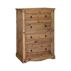 Corona 4 Drawer Wooden Chest A combination of three standard sized drawers with one extra-large drawer make this elegant, tall chest of drawers the ideal storage solution for any rustic bedroom. The spacious drawers have been expertly crafted with dove Mexican Pine Furniture, Antique Pine Furniture, Pine Bedroom Furniture, Shabby Chic Furniture, Large Drawers, Chest Of Drawers, Divan Sets, Pine Chests, Wooden Chest