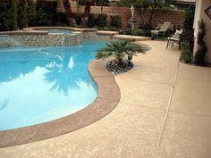 Pool Pavers, Pool Decking Concrete, Pool Landscaping, Pool Backyard, Pool Ideas, Patio Ideas, Backyard Ideas, Outdoor Ideas, Concrete Resurfacing