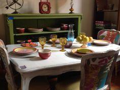Mesa de comedor antigua patinada