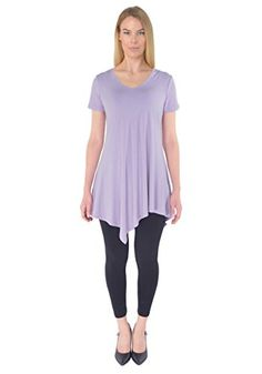 PattyCandy Womens Lilac Rayon Short Sleeve Tunic Top Lilac  3XL *** You can find more details by visiting the image link. This is an affiliate link.