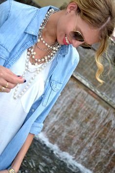 Lace, denim and pearls