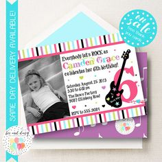 Welcome to Bee and Daisy! Are you looking for the perfect invitation for your upcoming birthday party, baby shower, or event? If so, we know you will love our Girls Rock Star Invitation! We offer both printable & printed options.  Looking for other Rock Star themed items or our coordinating printable party decorations? Find them here: https://www.etsy.com/shop/BeeAndDaisy/search?search_query=rock+star&order=date_desc&view_type=gallery&re...